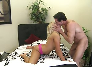 Peter North fucks a hot young flaxen-haired up say no to shaved pussy