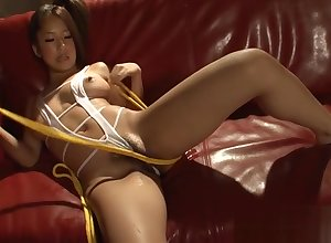 Asians powered toying added to blowjob
