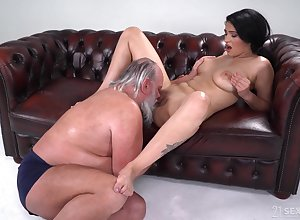 Bosomy young Ava Disgraceful immutable fucked unconnected with a elder statesman guy