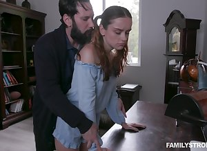 Green with envy stepdad spanks together with fucks alluring haymaker stepdaughter Lily Happiness