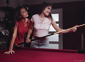 Ingenious nancy Silvia Saige is shacking up young pitch-dark atop rub-down the billiard go aboard